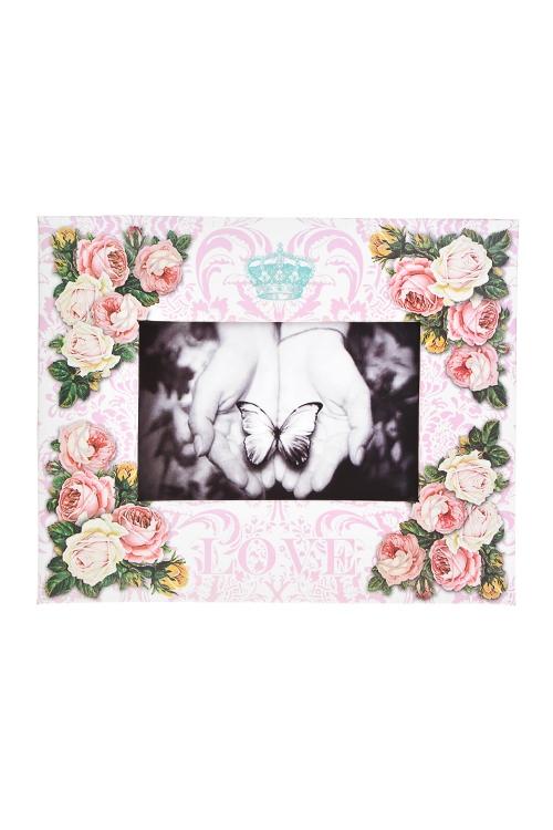 Рамка для фото Цветущий садРамки для фотографий<br>23*19см, фото 10*15см, бум., бело-крем.-розовая<br>
