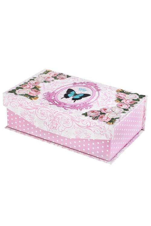 Шкатулка НежностьШкатулки для писем<br>22*13*7см, бум., бело-розовая<br>