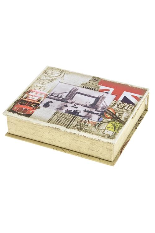 Шкатулка ЛондонШкатулки и наборы по уходу<br>15*18*5см, с фоторамкой 9*11см, бум., крем.-красная<br>