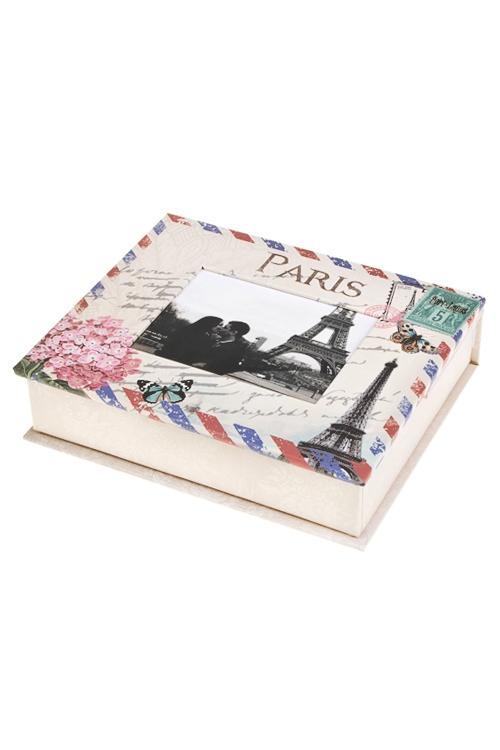 Шкатулка Цветущий ПарижШкатулки для писем<br>15*18*5см, с фоторамкой 9*11см, бум., бело-крем.-розовая<br>