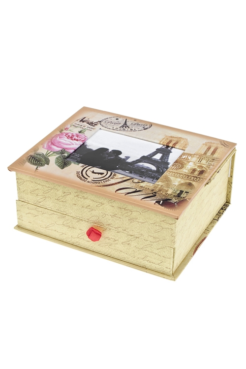 Шкатулка Прекрасный ПарижШкатулки и наборы по уходу<br>15*18*8см, с фоторамкой 9*11см, бум., крем.-розовая<br>