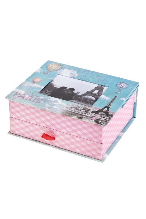 Шкатулка ПарижШкатулки и наборы по уходу<br>15*18*8см, с фоторамкой 9*11см, бум., розово-голубая<br>