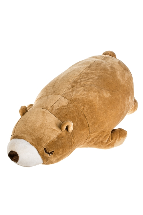 Игрушка мягконабивная Спящий мишаПодарки ко дню рождения<br>Дл=46см, текстиль, коричн.<br>