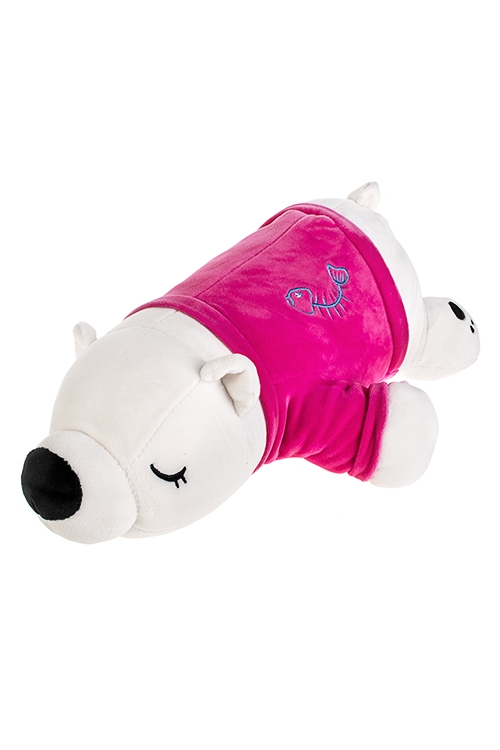 Игрушка мягконабивная Спящий мишаИгрушки и куклы<br>Дл=46см, текстиль, бело-розовая<br>