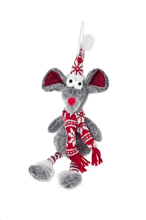 Игрушка мягкая Мышонок в шарфикеИгрушки и куклы<br>Выс=28см, текстиль, серо-красная, подвесная<br>