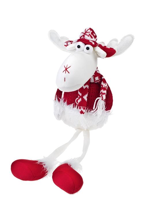Игрушка мягкая Смешной лосикИгрушки и куклы<br>Выс=56см, текстиль, бело-красная, подвесная (2 вида)<br>