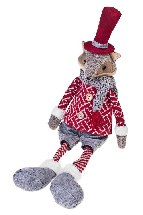 Игрушка мягкая ЛисенокТекстильные игрушки<br>Выс=54см, текстиль, серо-красная, подвесная<br>