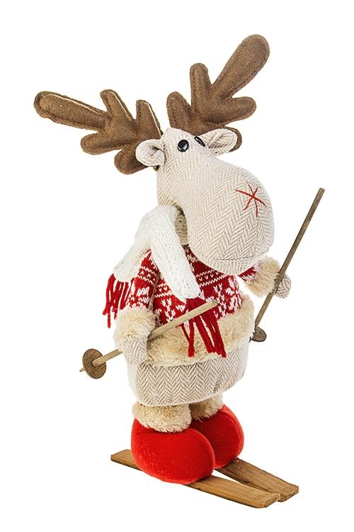 Игрушка мягкая Лосик на лыжахТекстильные игрушки<br>Выс=28см, текстиль, дерево, крем.-красная<br>