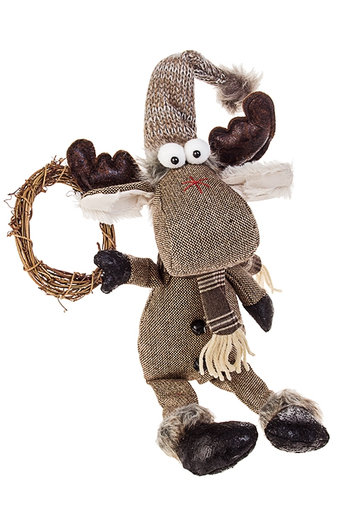 Игрушка мягкая ЛосяшТекстильные игрушки<br>Выс=41см, текстиль, натур. матер., коричн., подвесная<br>