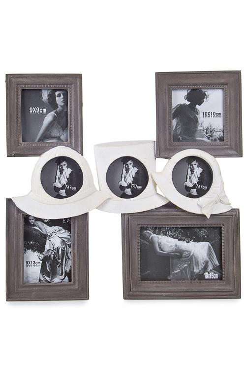 """Рамка для 7-ми фото """"Шляпки"""" серо-белая"""