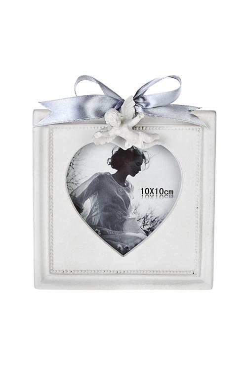 Рамка для фото Парящий ангелочекПластиковые фоторамки<br>15*16см, фото 10*10см, полирезин, крем.<br>