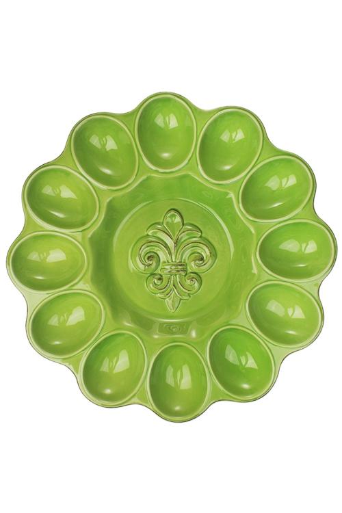 Блюдо для 12-ти яиц ЦветокТарелки и пиалы<br>Д=30см,  доломит. керам., зеленое<br>
