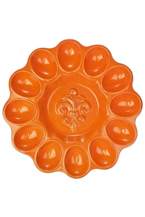 Блюдо для 12-ти яиц ЦветокТарелки и пиалы<br>Д=30см,  доломит. керам., оранж.<br>