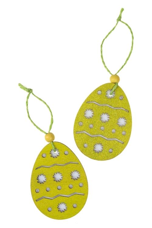 Набор украшений декоративных Расписное яичкоДекоративные гирлянды и подвески<br>Выс=6см, фетр, дерево, подвесной (2 цвета)<br>