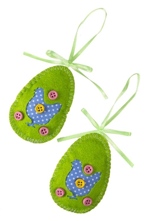 Набор украшений декоративных Веселое яичкоИнтерьер<br>2-предм., Выс=6.5см, фетр, подвесной (2 цвета)<br>