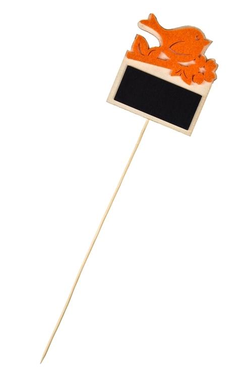 Украшение декоративное Пташка с табличкойСувениры на палке<br>Выс=7см, фетр, дерево, на палке (2 цвета)<br>