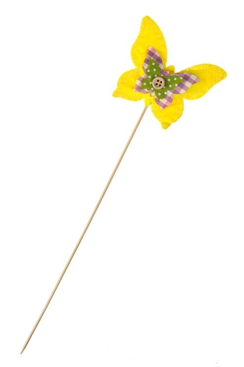 Украшение декоративное ЦветикСувениры и упаковка<br>Выс=6см, фетр, текстиль, на палке<br>