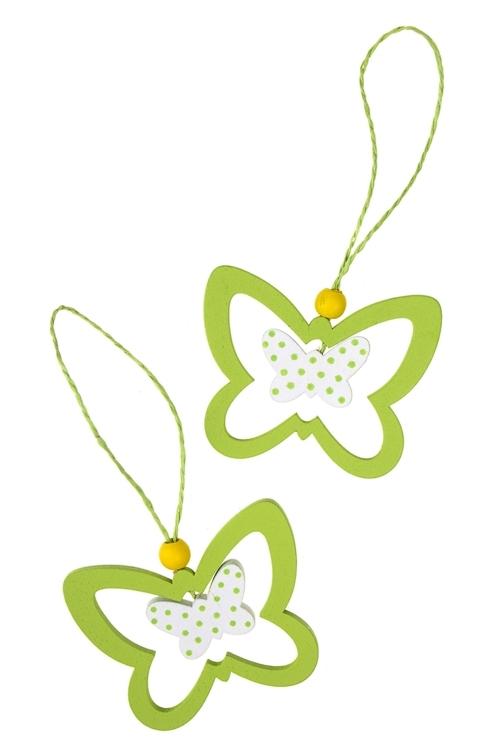 Набор украшений декоративных БабочкаДекоративные гирлянды и подвески<br>3-предм., Выс=6.5см, дерево, подвесной (2 цвета)<br>