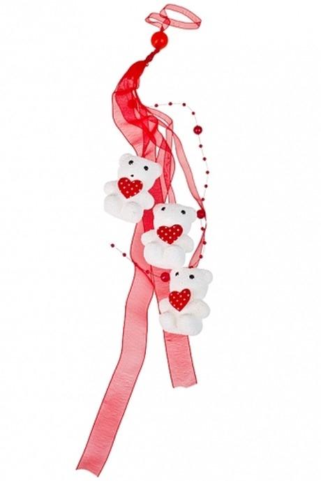 Украшение декоративное Мишки с сердцамиДекоративные гирлянды и подвески<br>Дл=42см, пенопласт, текстиль, бело-красное, на веревке<br>