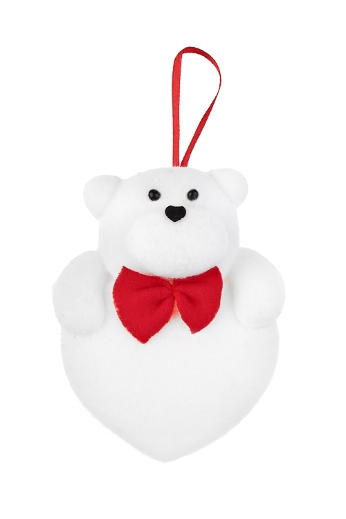 Украшение декоративное Мишка на сердцеСувениры и упаковка<br>Выс=10см, текстиль, бело-красное, подвесное<br>