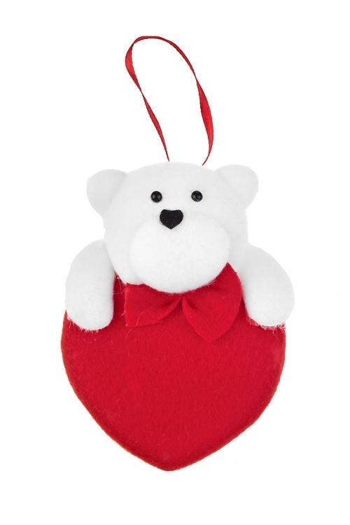 Украшение декоративное Мишка на сердцеСувениры и упаковка<br>Выс=10см, текстиль, красно-белое, подвесное<br>
