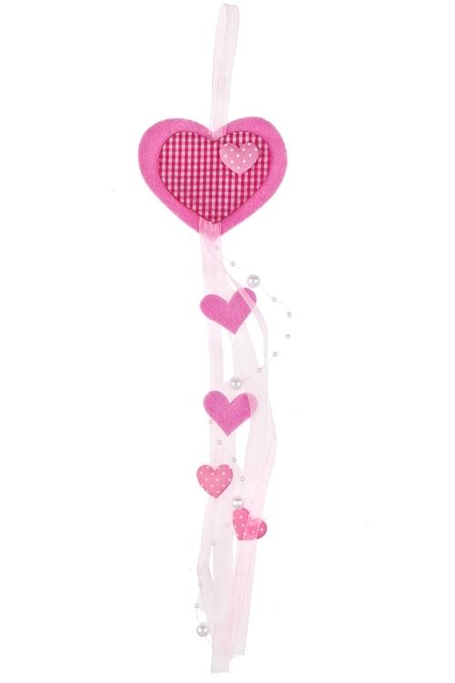 Украшение декоративное Любовный вихрьДекоративные гирлянды и подвески<br>Дл=37см, войлок, розовое, на веревке<br>