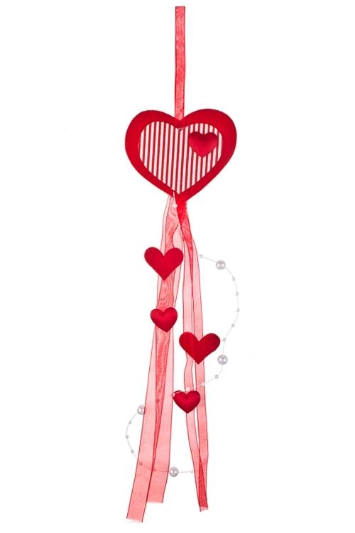 Украшение декоративное Любовный вихрьСувениры и упаковка<br>Дл=37см, войлок, красное, на веревке<br>