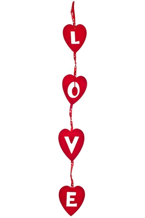 Украшение декоративное Для любимыхДекоративные гирлянды и подвески<br>Дл=86см, войлок, бело-красное, на веревке<br>