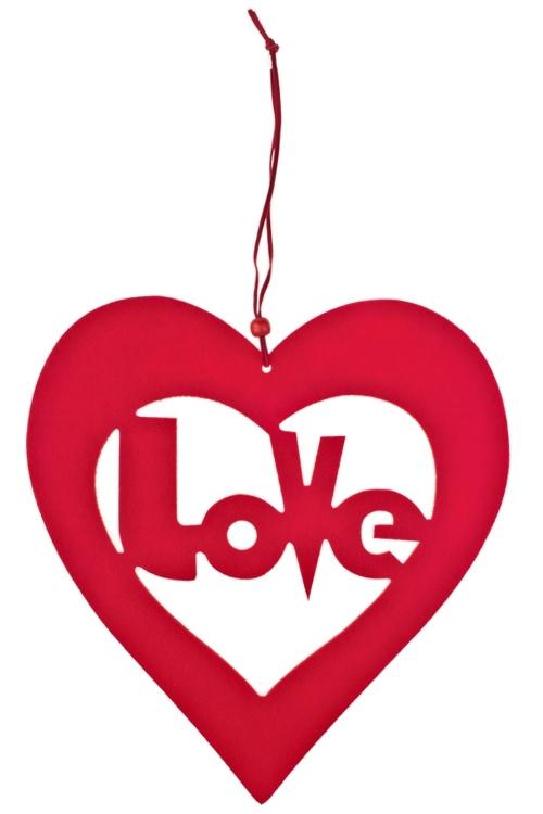 Украшение декоративное Вечная любовьСувениры и упаковка<br>Дл=37см, войлок, красное, подвесное<br>