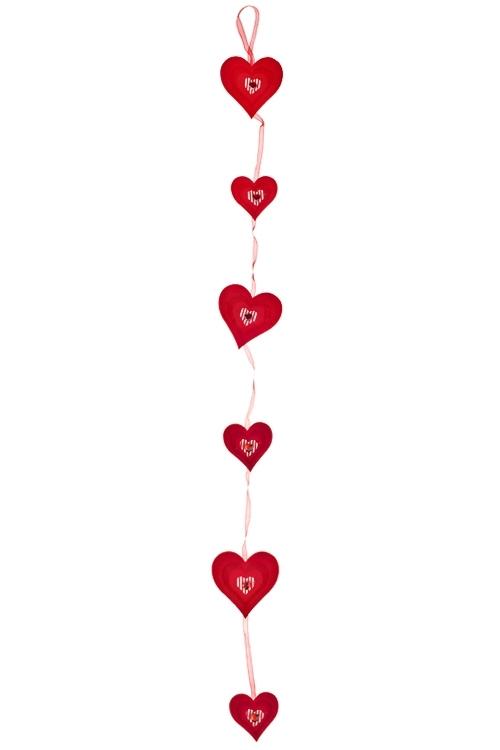 Украшение декоративное из 6-ти сердец Полет сердецСувениры и упаковка<br>Дл=94см, войлок, красное, на веревке<br>