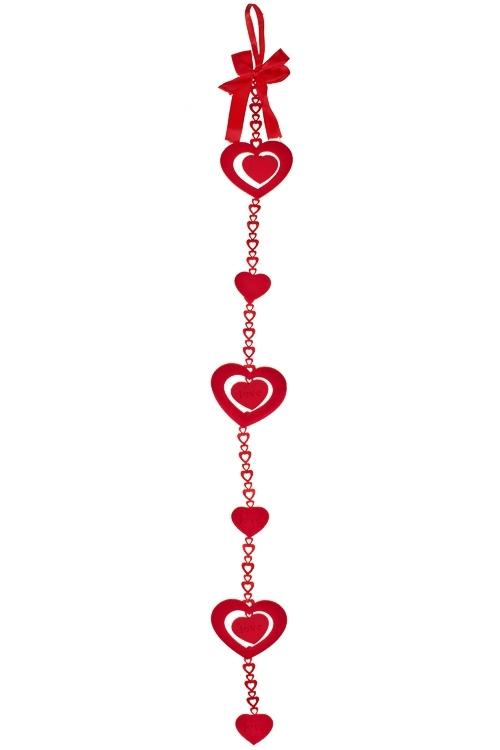 Украшение декоративное из 6-ти сердец Сердце на цепочкеДекоративные гирлянды и подвески<br>Дл=89см, войлок, на веревке<br>