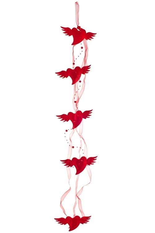 Украшение декоративное из 5-ти сердец Порхающие сердцаСувениры и упаковка<br>Дл=83см, войлок, на веревке<br>