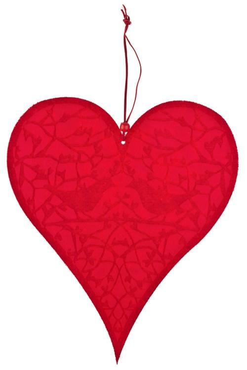 Украшение декоративное Пение влюбленных птицДекоративные гирлянды и подвески<br>Дл=35см, войлок, красное, подвесное<br>