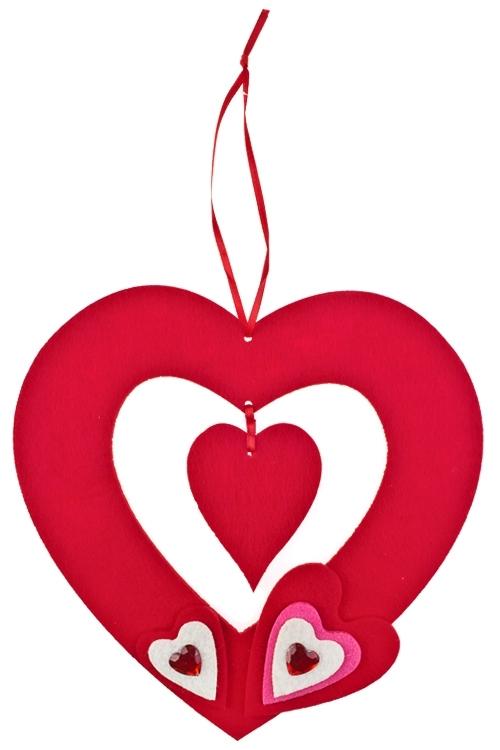 Украшение декоративное Пара сердецСувениры и упаковка<br>Дл=32см, войлок, красное, подвесное<br>
