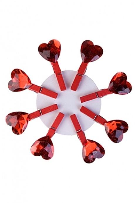 Набор сувениров Нежное чувствоДекоративные прищепки<br>Выс=3см, дерево, акрил, на прищепке<br>