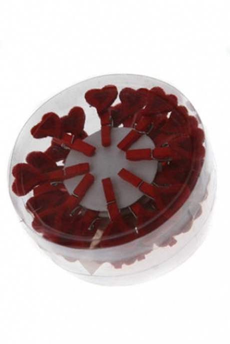 Сувенир Сердце-малюткаДекоративные прищепки<br>Выс=3см, текстиль, дерево, красный, на прищепке<br>