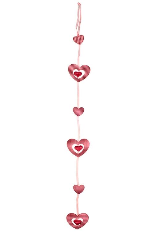 Украшение на палке Двойное сердцеДекоративные гирлянды и подвески<br>Выс=9см, войлок, красно-белое, на палке<br>