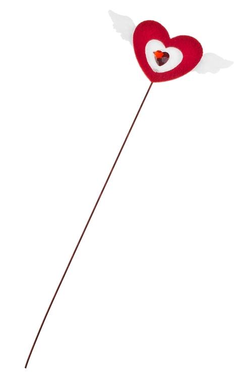 Украшение на палке Крылья любвиСувениры и упаковка<br>Выс=3.5см, войлок, красно-белое, на палке<br>