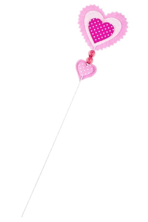 Украшение на палке Дуэт сердецСувениры и упаковка<br>Выс=10см, войлок, розово-белое, на палке<br>