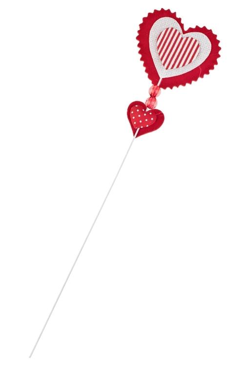 Украшение на палке Дуэт сердецСувениры на палке<br>Выс=10см, войлок, красно-белое, на палке<br>