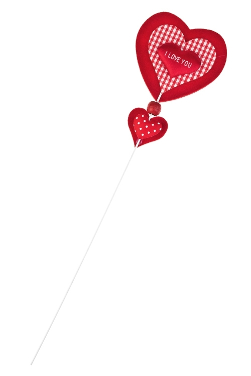 Украшение на палке Страстное сердцеСувениры на палке<br>Выс=10см, войлок, красно-белое, на палке<br>