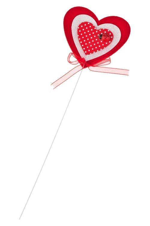 Украшение на палке Сердце в клеточкуСувениры и упаковка<br>Выс=7см, войлок, красно-белое, на палке<br>