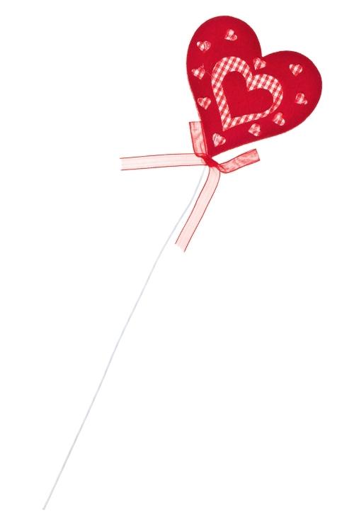 Украшение на палке Пылкое сердцеСувениры и упаковка<br>Выс=8см, войлок, красное, на палке<br>