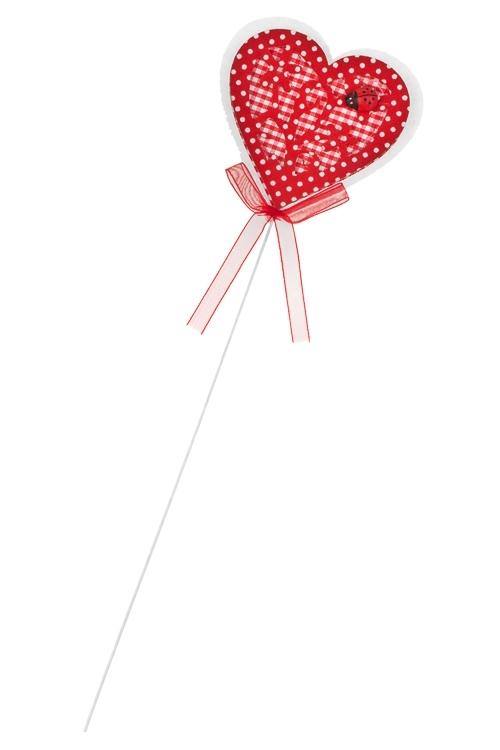 Украшение на палке Сердце в цветахСувениры на палке<br>Выс=8см, войлок, красно-белое, на палке<br>