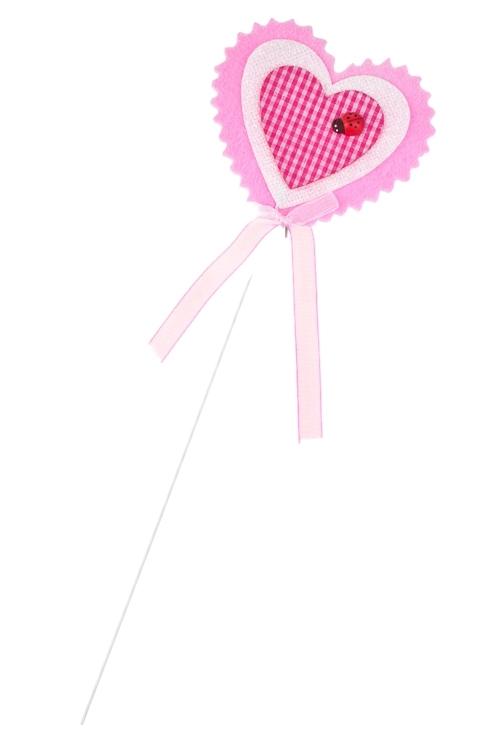 Украшение на палке Юное сердцеСувениры на палке<br>Выс=8см, войлок, розово-белое, на палке<br>