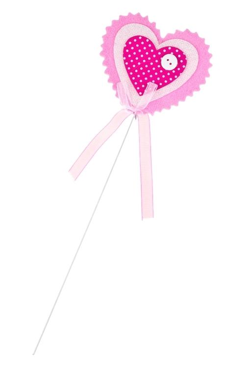 Украшение на палке Сердце с пуговкойСувениры на палке<br>Выс=8см, войлок, розово-белое, на палке<br>