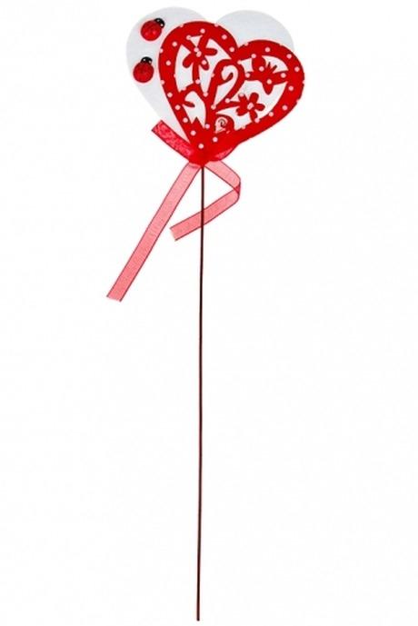 Украшение декоративное Узоры на сердцеСувениры на палке<br>Выс=29см, войлок, красно-белое, на палке<br>