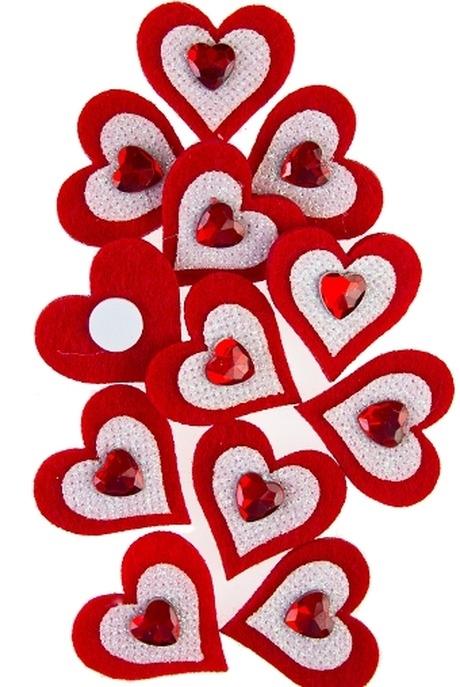Набор сувениров Сердечки со стразамиСувениры на липучке<br>Войлок, на липучке<br>