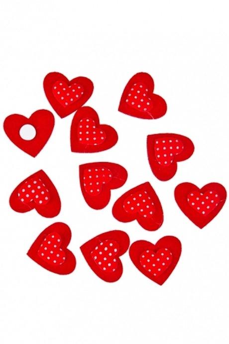 Набор украшений декоративных Алые сердцаСувениры и упаковка<br>Войлок, текстиль, на липучке, в блистере<br>