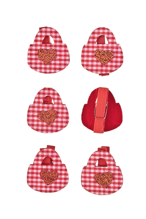 Набор украшений на прищепке Любовный замочекДекоративные прищепки<br>Выс=3.5см, дерево, войлок, красный, на прищепке<br>